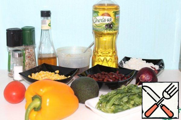 Prepare the ingredients. Cook rice. Soak the beans for at least 4 hours, then cook.