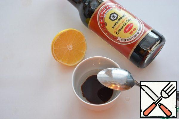 Mix sweet soy sauce, lemon juice, oil.