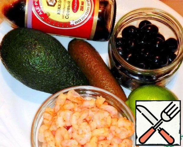 Salad ingredients- cucumber, avocado, olives, shrimp, lime, soy sauce sweet.