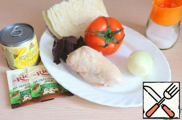 Ingredients for salad preparation. To prepare the salad, it is better to take large tomatoes with strong, thick walls.