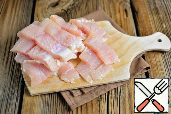 Tilapia fillet cut into strips 2-2. 5 cm wide.