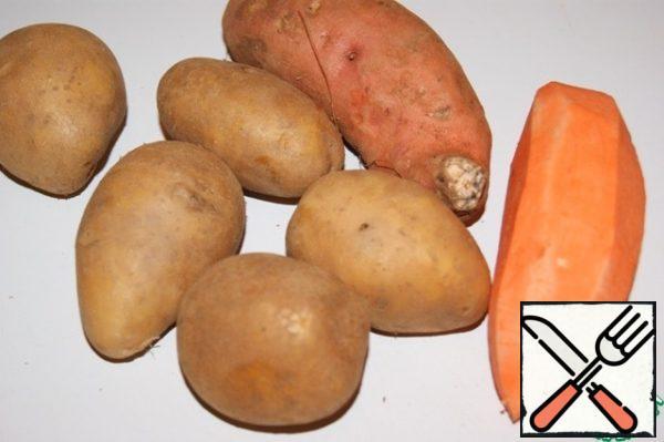 Peel potatoes and sweet potatoes.