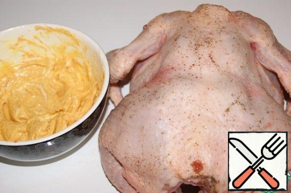 RUB the chicken with salt and black pepper.
