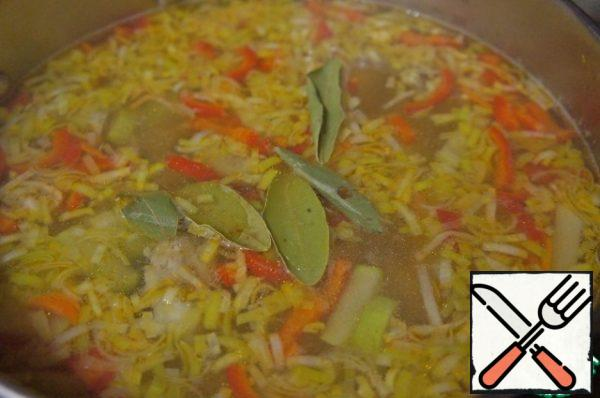 Add the Bay leaf to the soup.