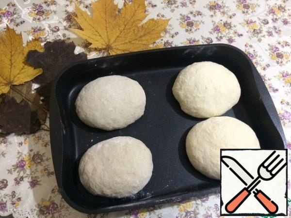 So as forms for baking bread I me there is no, then I putting dough in baking sheet. It should be thick-walled so that the bread is evenly baked, and does not remain raw inside. As a result, we get four buns. Cover with a kitchen towel and put in a warm place.