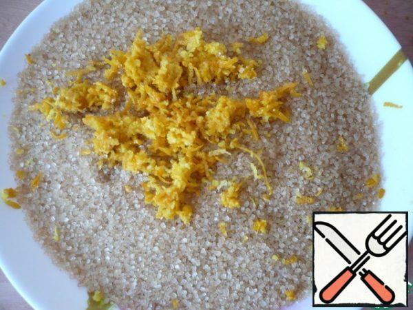 Pre-weigh brown sugar and grate orange zest on top.