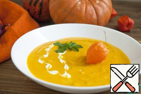 Or add the broth in which our pumpkin was cooked, turning into a full-fledged soup. He good in mono execution, without adding frying and etc. Can be add greens or spices to Italian tastes. Bon appetit