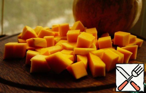 Pumpkin cut into cubes.