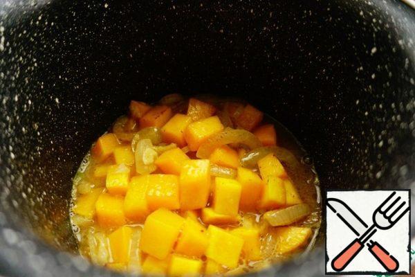 Pour orange juice.