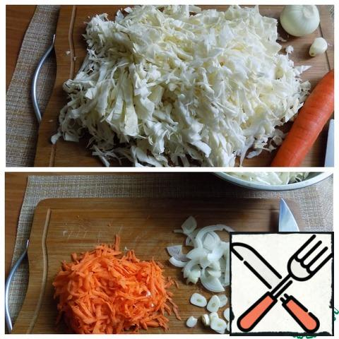 Cabbage chopped arbitrarily, as you like. Grate carrots, cut onion into half rings, garlic clove-slices.