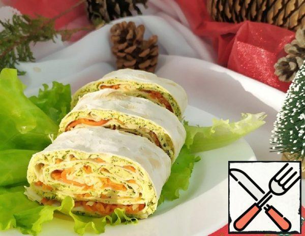Pita Bread Roll with Korean Carrots Recipe