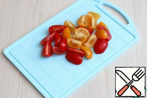 Cherry tomatoes cut into slices.
