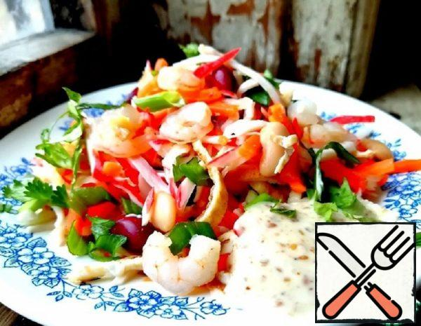 Bean Salad with Pancakes and Shrimp Recipe