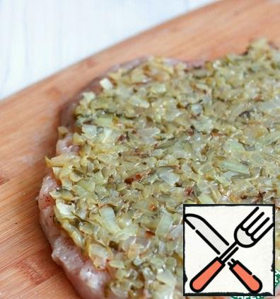 Add the vegetable mixture to the prepared Turkey breast fillet.