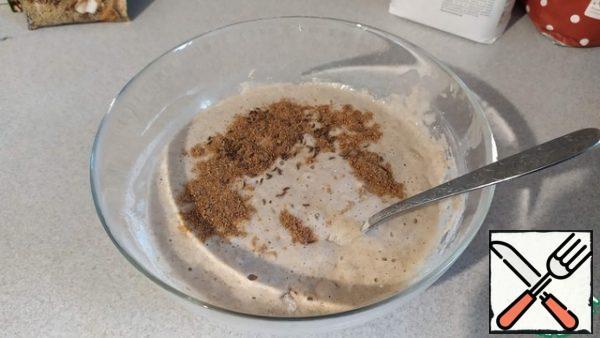 Add salt, cumin,and coriander to the prepared sourdough. Pour in the oil.