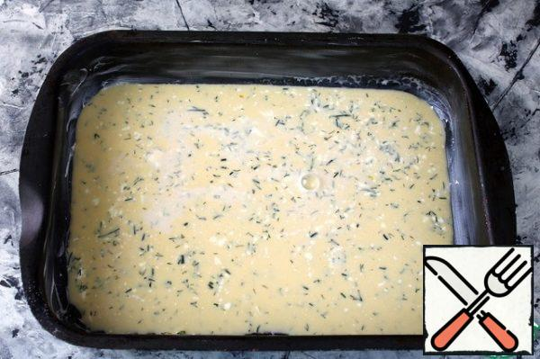 Grease a baking sheet with butter. Pour the omelet. Bake in a preheated 180 gr oven for 15-20 minutes. The finished omelet to cool.