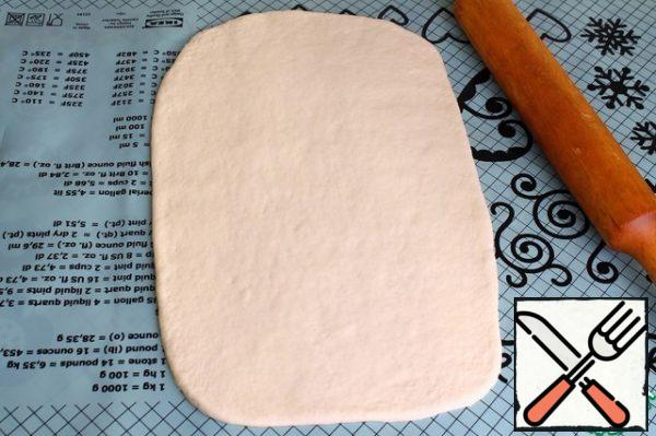 Roll out the dough into a rectangle.