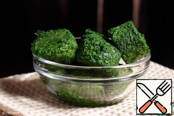 Spinach can be taken fresh, or frozen. Simmer it in a pan until soft.