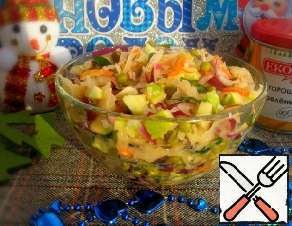 Salad with Cabbage, Peas and Apple Recipe