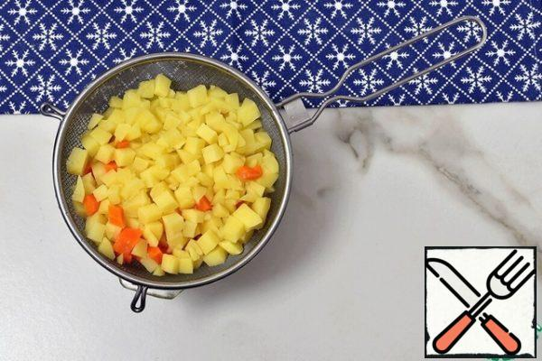 Remove the finished vegetables to a sieve and pour cold water over them to stop cooking. Dry.