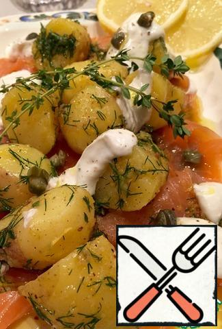 Boil the potatoes in their skins. If not possible, boil fresh potatoes, peel and boil in salted water until tender.