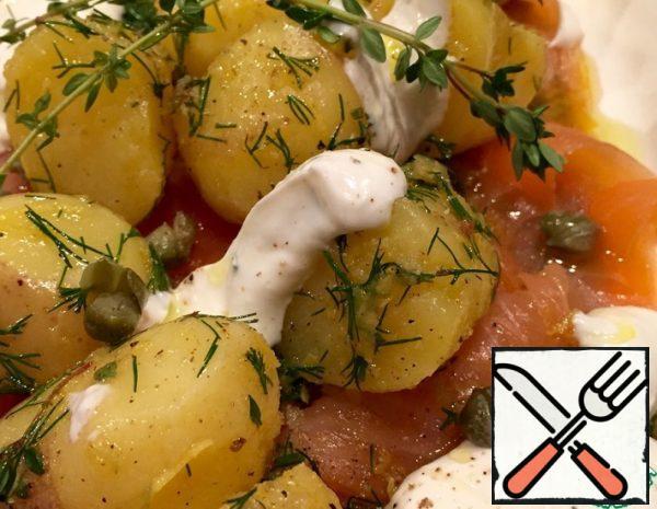 Warm Salad with Potatoes and Salmon Recipe