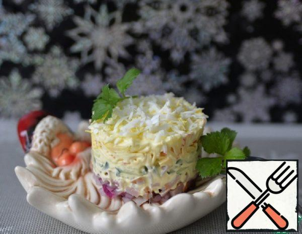 Layered Salad with Ham and Apple Recipe