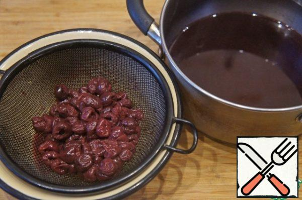 Put the cherries in a colander and save the broth.