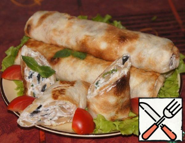 Pita Bread Rolls with Cheese and Mushrooms Recipe