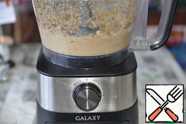 Punch everything in a blender until smooth. I used chopping knives in a food processor.