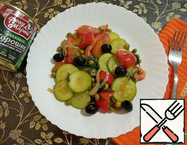 Hot Pea Salad with Vegetables Recipe
