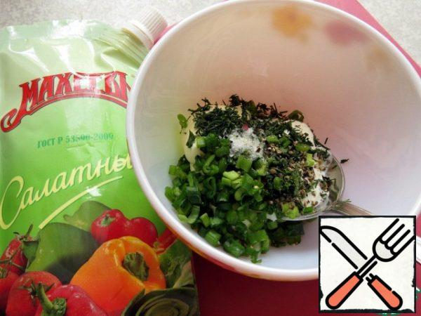 Add finely chopped green onions and dill. Salt and pepper to taste. Mix well.