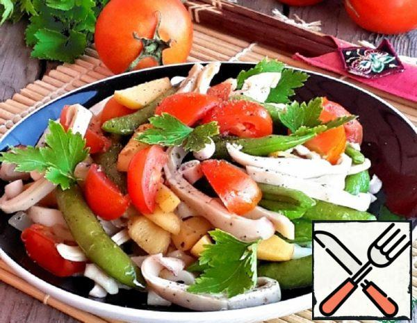 Hot Squid Salad with Vegetables Recipe