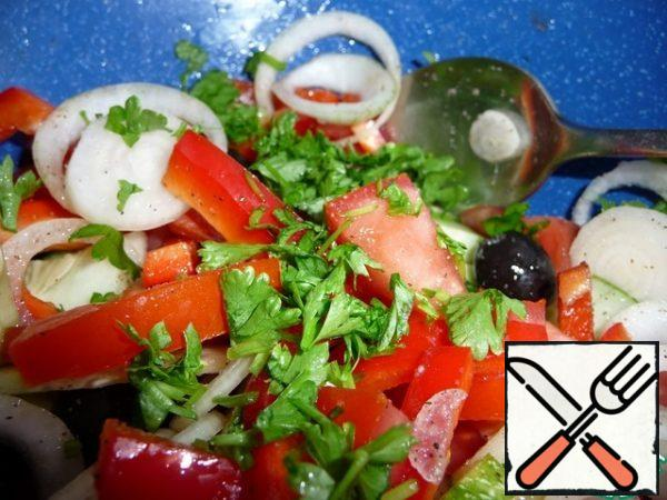 Finely chop the parsley and add to the vegetables.