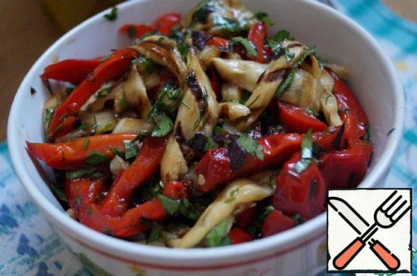 Salad with Peppers and Eggplant on the Grill Recipe
