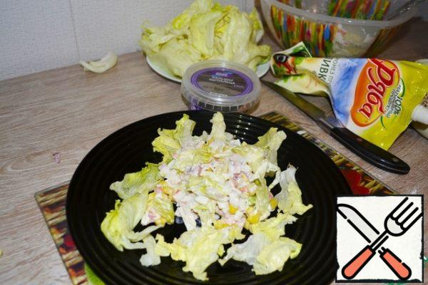 Season all the chopped ingredients with mayonnaise , salt and pepper to taste.