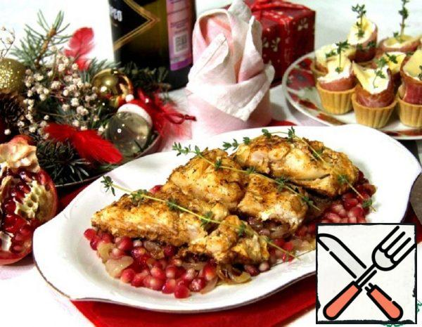 Cod Fillet with Saffron and Pomegranate Recipe