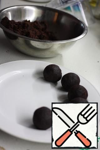Roll into balls weighing 40-45 gram. Put in the refrigerator for 2-3 hours or 10-15 minutes in the freezer.