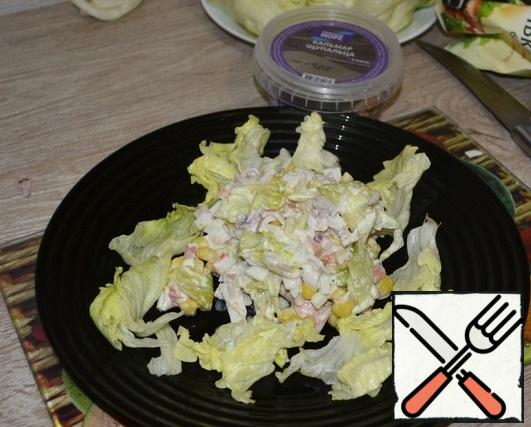 Season all the chopped ingredients with mayonnaise, salt and pepper to taste.