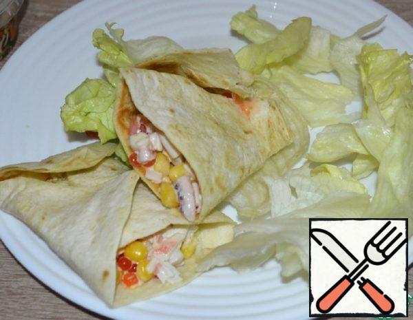 Snacks of Crab Sticks in a Tortilla Recipe