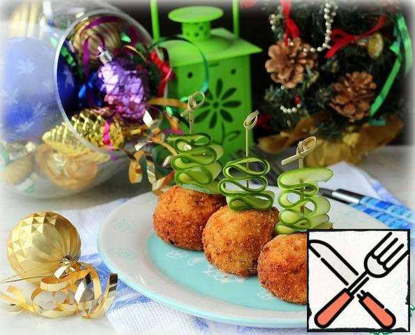 Cut long slices of cucumber, thread on skewers and stick in croquettes, serve on the table.