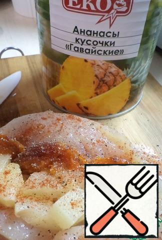 Add the dried apricots and sprinkle with pepper and salt.
