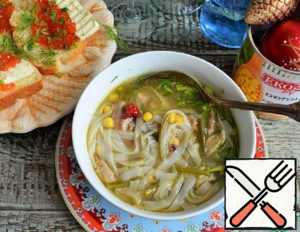 Soup with Corn and Rice Noodles Recipe