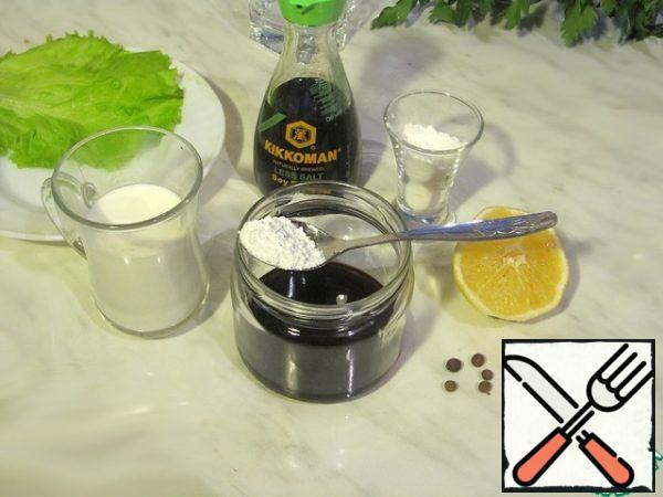 Preparing the sauce from the ingredients.