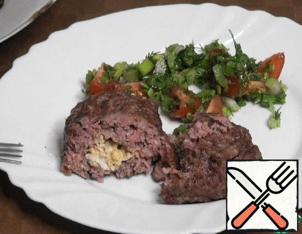 Meat Torpedoes with Scrambled Eggs Recipe
