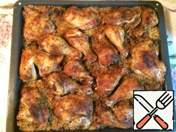 After this time, remove the foil and turn on the grill mode (if available). The goal is for the chicken to get a nice crust. And another 20-30 minutes. Look at the readiness (if you pierce the chicken, the transparent juice is released) and appearance.Well, that's it! Bon Appetit!