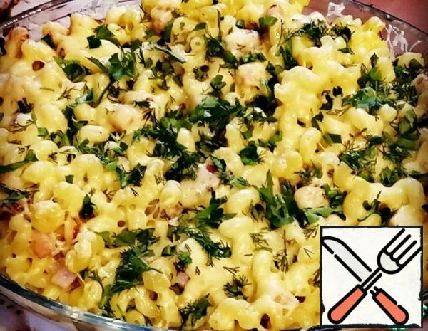Pasta with Cheese and Meat in the Oven Recipe