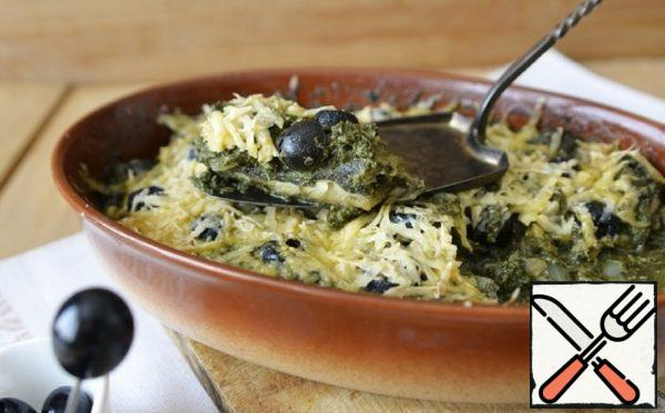 Fish Gratin with Spinach and Olives Recipe