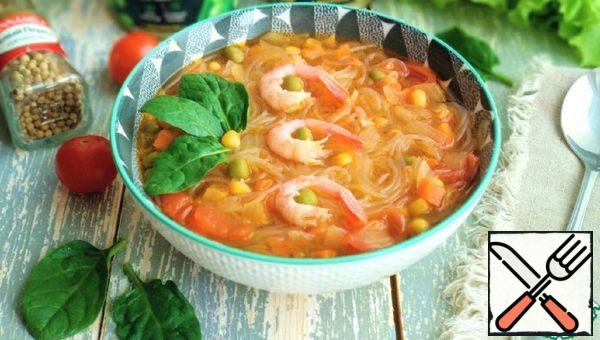 Soup with Funchoza and Shrimp Recipe