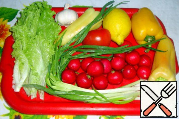Vegetables-lettuce, garlic, peppers, tomato, green onion, radish, cucumber, alfalfa, lemon.